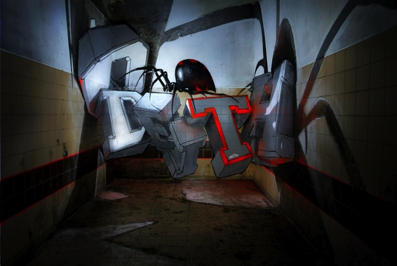 odeith anamorphic 3d white block graffiti letters standing black widow-s